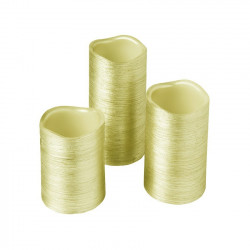 Pack of 3 Christmas Candles Gold Special Flame
