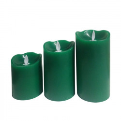 Pack of 3 LED Christmas Candles Green Special Flame
