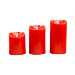 Pack de 3 Bougies de Noël LED Cire Naturelle Spéciale Flamme Rouge