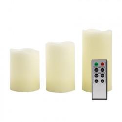 Pack de 3 Bougies LED Cire Naturelle 23Y avec Télécommande