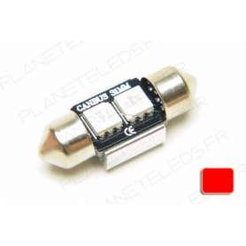 Ampoule Navette 32mm Rouge Anti-Erreur OBD 2 Leds