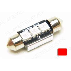 Ampoule Navette 36mm Rouge Anti-Erreur OBD 3 Leds