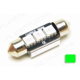 Ampoule Navette 36mm Verte Anti-Erreur OBD 3 Leds