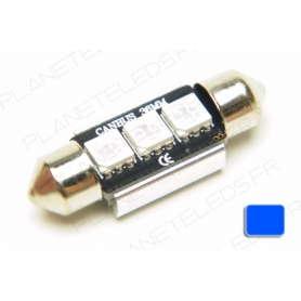 Ampoule Navette 36mm Bleu Anti-Erreur OBD 3 Leds