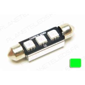 Ampoule Navette 41mm Verte Anti-Erreur OBD 3 Leds