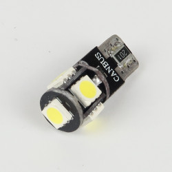 Ampoule Led T10 - W5W - Anti-Erreur ODB 5 Leds Blanches