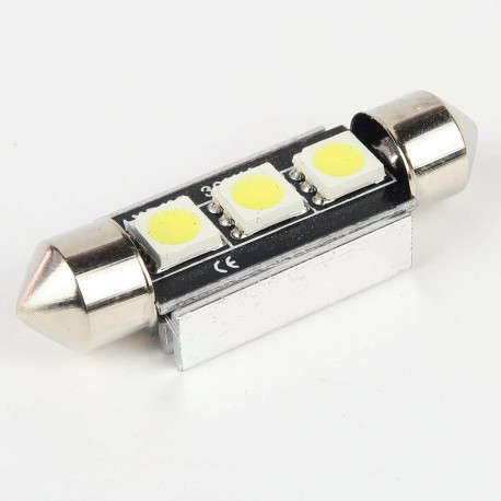 Eclairage LED pour voiture et moto : Ampoule Navette FIRST Blanches 39mm Anti-Erreur OBD 3 Leds