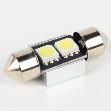 Eclairage LED pour voiture et moto : Ampoule Navette FIRST Anti-Erreur OBD 2 Leds Blanches 32mm