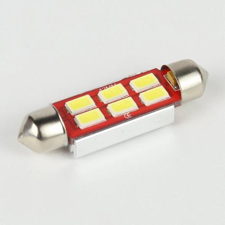 Eclairage LED pour voiture et moto : Ampoule Navette Slim C5W 6 Leds Blanches 5730 CANBUS OBD 42mm