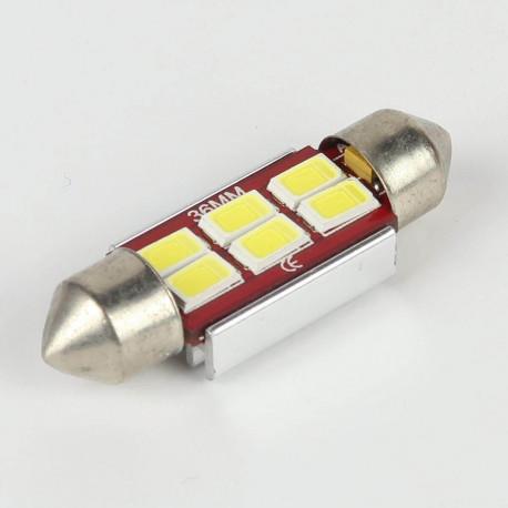Eclairage LED pour voiture et moto : Ampoule Navette Slim C5W 6 Leds Blanches 5730 CANBUS OBD 36mm