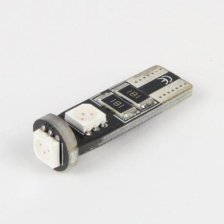 Eclairage LED pour voiture et moto : Ampoule T10 Rouge Anti-Erreur OBD 3 Leds