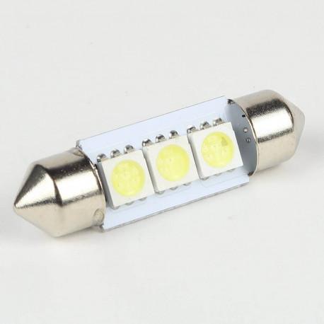 Eclairage LED pour voiture et moto : Ampoule Navette C5W 3 Leds SMD5050 36 mm FIRST