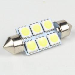 Ampoule Led Navette 36mm 6 Led SMD5050 120° Blanche 6V