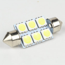 LED festoon bulb 36mm 6 SMD 5050 LED 120 ° White 6V
