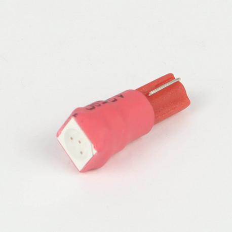 Eclairage LED pour voiture et moto : Ampoule Led T5 - W1.2W - 1 Led SMD5050 Rouge