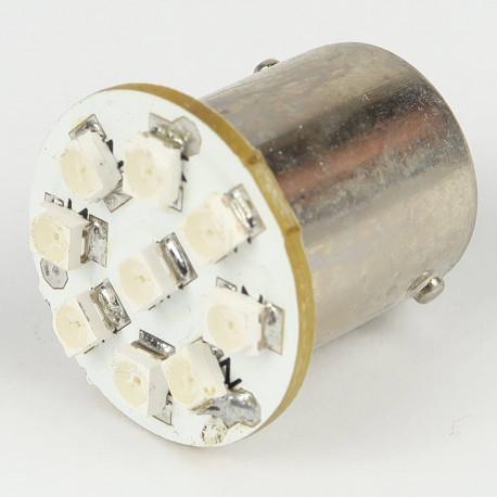Eclairage LED pour voiture et moto : Ampoule Led BA15S - 1156/1157 - 9 Leds Jaunes