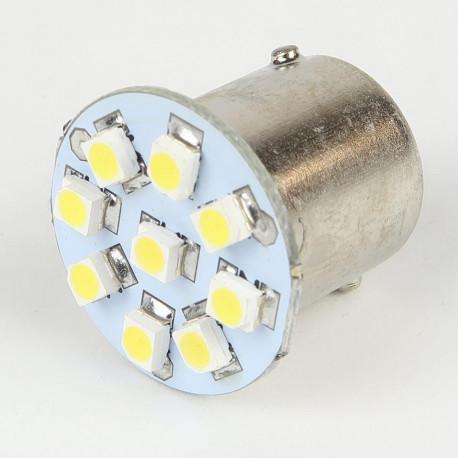 Eclairage LED pour voiture et moto : Ampoule Led BA15S - 1156/1157 - 9 Leds Blanches